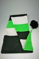 Fleece Langmütze / Schalmütze  Schwarz-Weiß-Grün