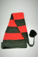 Fleece Langmütze / Schalmütze  Schwarz-Rot