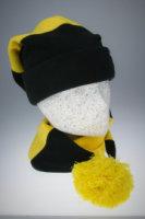 Fleece Langmütze / Schalmütze  Schwarz-Gelb