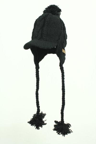 Strickmütze mit Kabelmuster und Schirm Schwarz