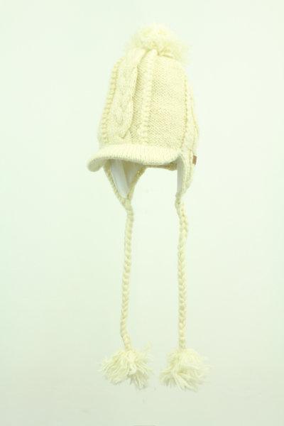 Strickmütze mit Kabelmuster und Schirm Weiß