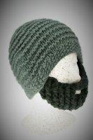 Bart - Mütze von Beardo Grobstrick (Bart abnehmbar) graue Mütze-schwarzer Bart