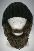 Bart - Mütze von Beardo Grobstrick (Bart abnehmbar) schwarze Mütze-brauner Bart Holzfällerstyle (länger)