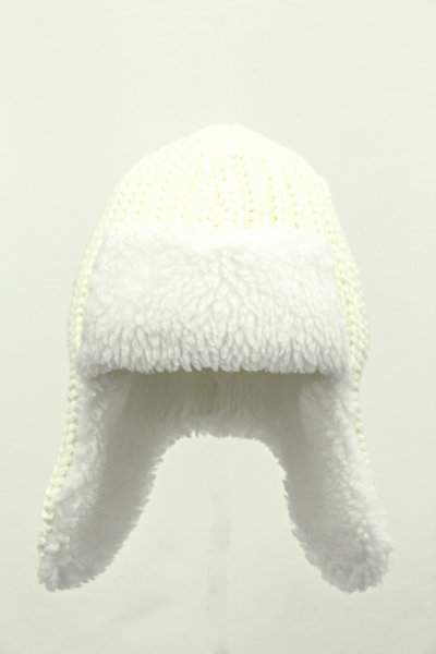 Kinder Strickpilotenmütze Alaska Weiß