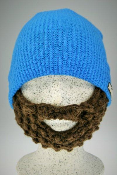 Bart - Mütze von Beardo Feinstrick blau - braun Blau-Braun