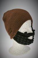 Bart - Mütze von Beardo Feinstrick blau - braun Braun-Schwarz