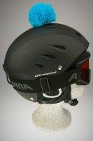 Pompon/Bommel Accessiore für Ski/Snowboard/Fahrrad-Helm Blau