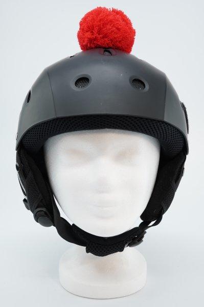 Pompon/Bommel Accessiore für Ski/Snowboard/Fahrrad-Helm Rot