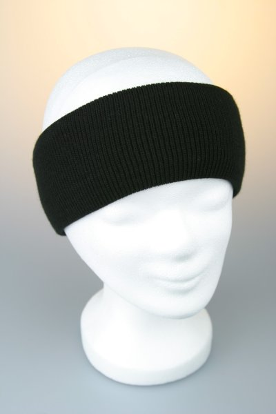 Feinstrick-Stirnband mit Baumwollfutter Schwarz