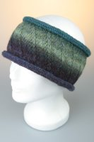 Stirnband, melange, Rollrand mit Baumwollfleece, Made in Germany Moorblau