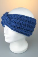 Strickstirnband, breit, gekreuzt, Made in Germany Blau