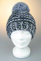 Mütze mit Bommel, melange mit Baumwollfleece, Made in Germany Blau-Weiß-Marine