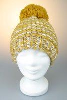 Mütze mit Bommel, melange mit Baumwollfleece, Made in Germany Gelb-Weiß-Beige