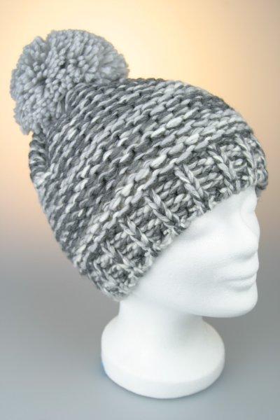 Mütze mit Bommel, melange mit Baumwollfleece, Made in Germany Hellgrau-Weiß-Anthrazit