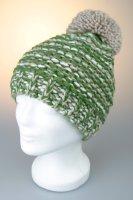 Mütze mit Bommel, melange mit Baumwollfleece, Made in Germany Beige-Weiß-Grün