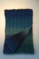 Strickschal melange, Zopfmuster, Made in Germany Moorblau
