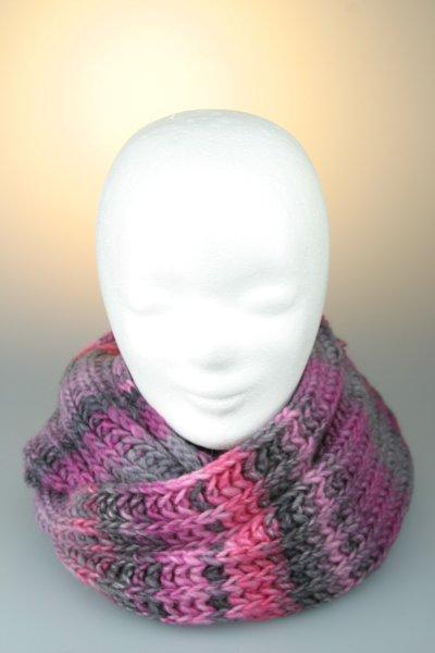 Strickschal, Loop, melange, Made in Germany Grau-Pink