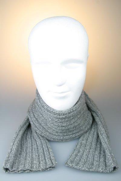 Strickschal 80 % Wolle, melange, gerippt, Made in Germany Grau