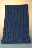 Strickschal 80 % Wolle, melange, gerippt, Made in Germany Jeansblau