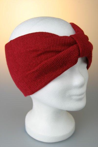 Stirnband, Feinstrick mit Riegel Rot