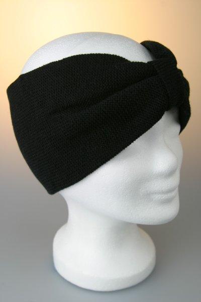 Stirnband, Feinstrick mit Riegel Schwarz