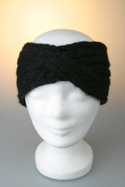 Stirnband, Zopfmuster gekreuzt mit Fleecefutter Schwarz