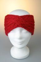 Stirnband, Zopfmuster gekreuzt mit Fleecefutter Rot