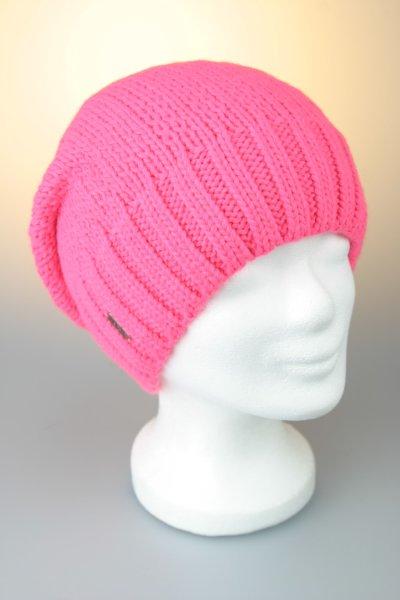 Strickmütze, oversized, Alpakamix mit Fleece Pink-Neon