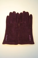 Damenhandschuh mit Tochscreenfunktion, Knopfreihe Bordeaux
