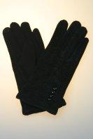 Damenhandschuh mit Tochscreenfunktion, Knopfreihe Schwarz