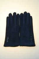Damenhandschuh mit Tochscreenfunktion, Knopfreihe Marine