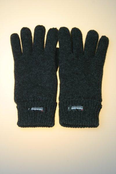 Damen-Strickhandschuh, 100% Wolle mit Thinsulatefutter, Grau Damen Strick 7,5