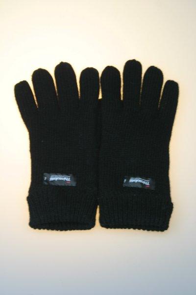 Damen-Strickhandschuh, 100% Wolle mit Thinsulatefutter, Schwarz
