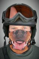 Rundschalmaske mit 3D Druck Hund, gefüttert mit Fleece