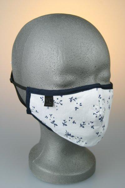 Mund- und Nasenmaske, weiß mit dunkelblauen Blumenmuster