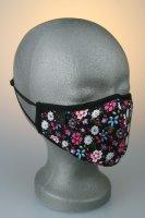 Mund- und Nasenmaske, schwarz mit blau, pinken Blumenmuster
