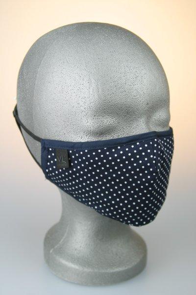 Mund- und Nasenmaske, dunkelblau mit weißen Punkten