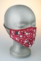 Mund- und Nasenmaske, rot mit rose, weißen...