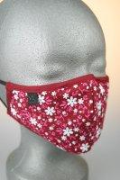 Mund- und Nasenmaske, rot mit rose, weißen Blumenmuster