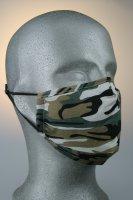 Mund- und Nasenmaske, camouflage schwarz grün beige