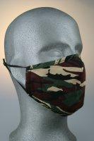 Mund- und Nasenmaske, camouflage schwarz grün rot beige