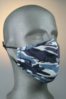 Mund- und Nasenmaske, camouflage blau dunkelblau weiß