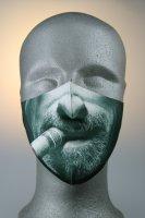Mund- und Nasenmaske, Gesicht mit Bart und Zigarre
