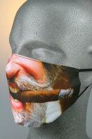 Mund- und Nasenmaske, Weihnachtsgesicht mit Zigarre