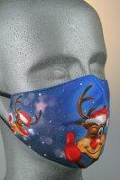 Maske mit Weihnachtsmotiv, Rentier Rudolf, blau