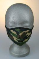 Kindermaske, 7-12 J., camouflage, braun-grün
