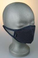Kindermaske, 7-12 J., blau mit weißen Punkten