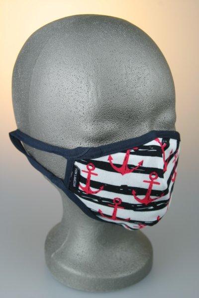 Kindermaske, 7-12 J., blau weiß gestreift, rote Anker