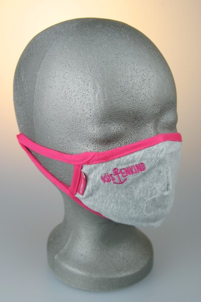Kindermaske, 7-12 J., grau mit pink Küstenkind