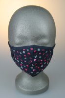 Kindermaske, 7-12 J., blau mit pinken Herzen